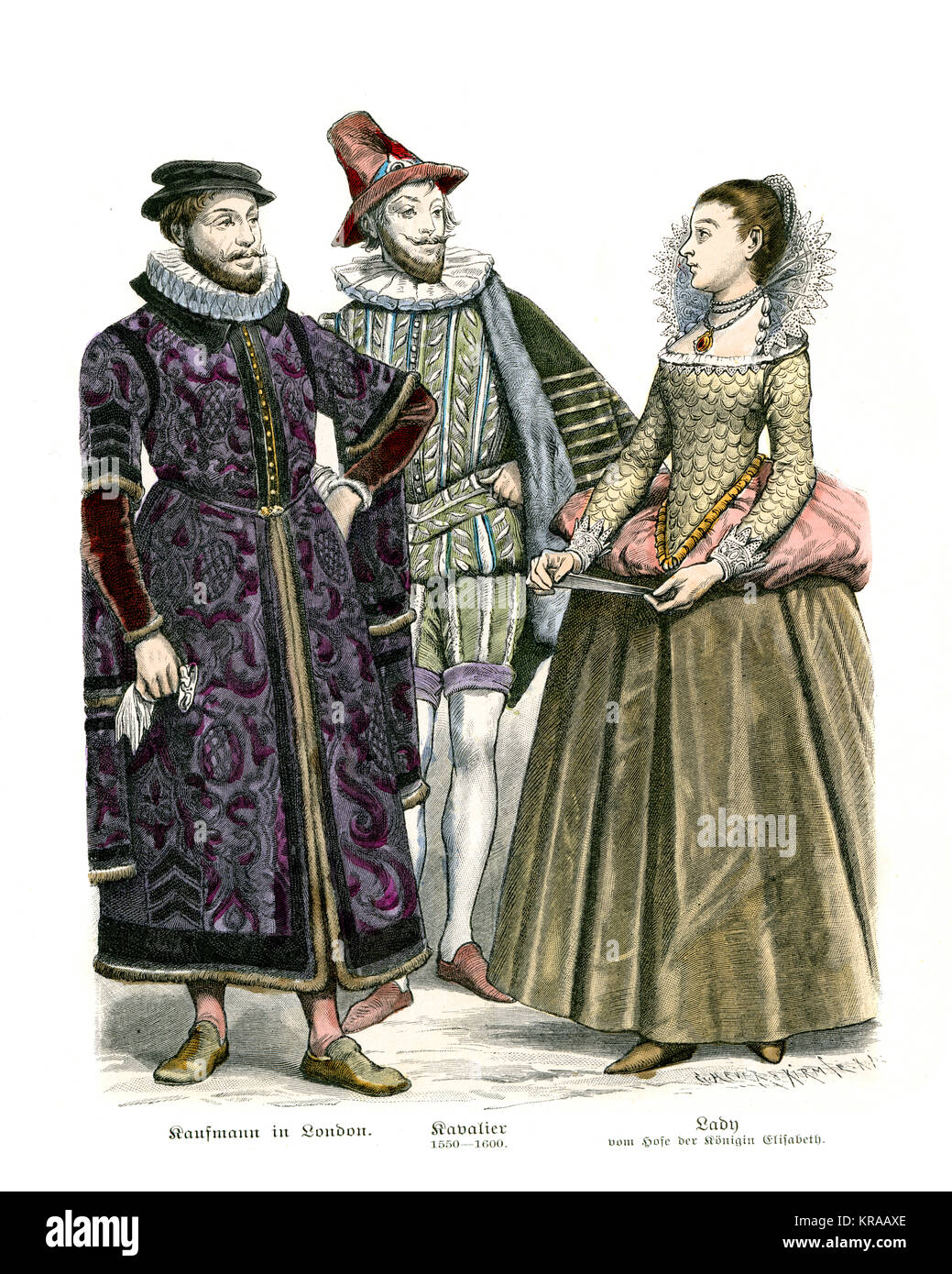 Fashions of the Tudor period. Merchant of London, Chevalier (1550 to 1600) and Lady of the Court of Queen Elizabeth - Stock Image