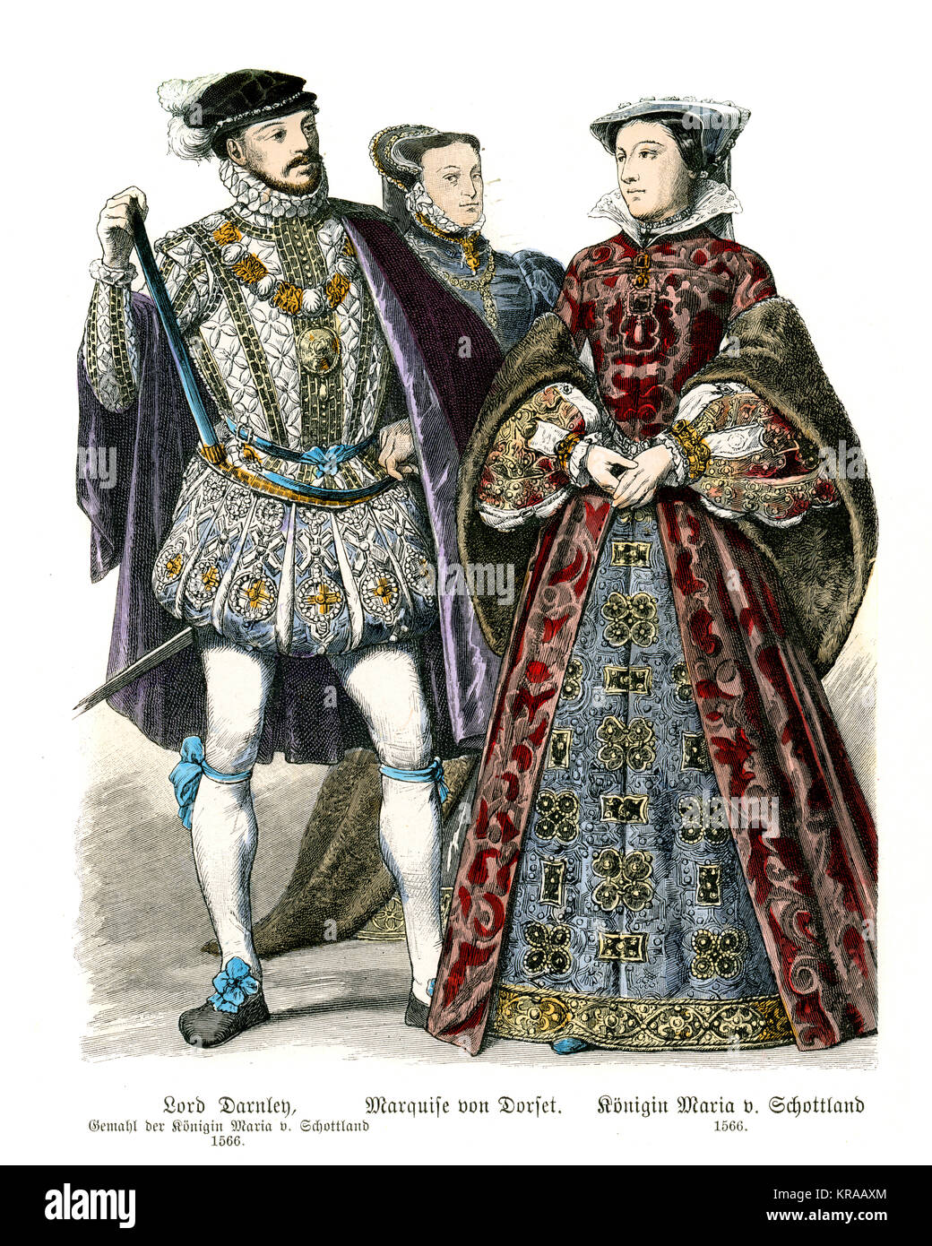 Fashions of the Tudor period. Henry Stuart, Lord Darnley, Mary Queen of Scots, Frances Grey, Duchess of Suffolk - Stock Image