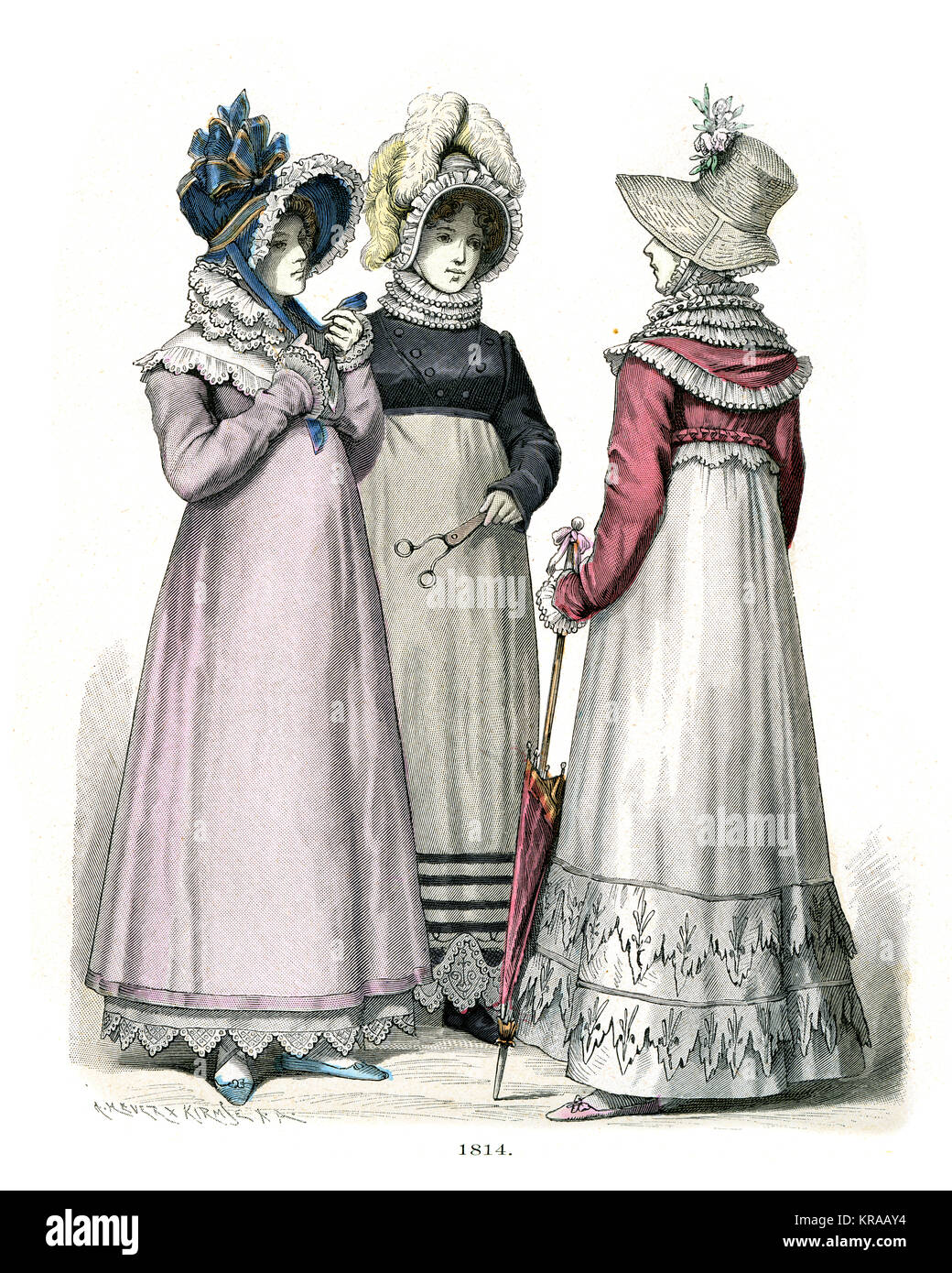 Womens fashions of the early 19th Century - Stock Image