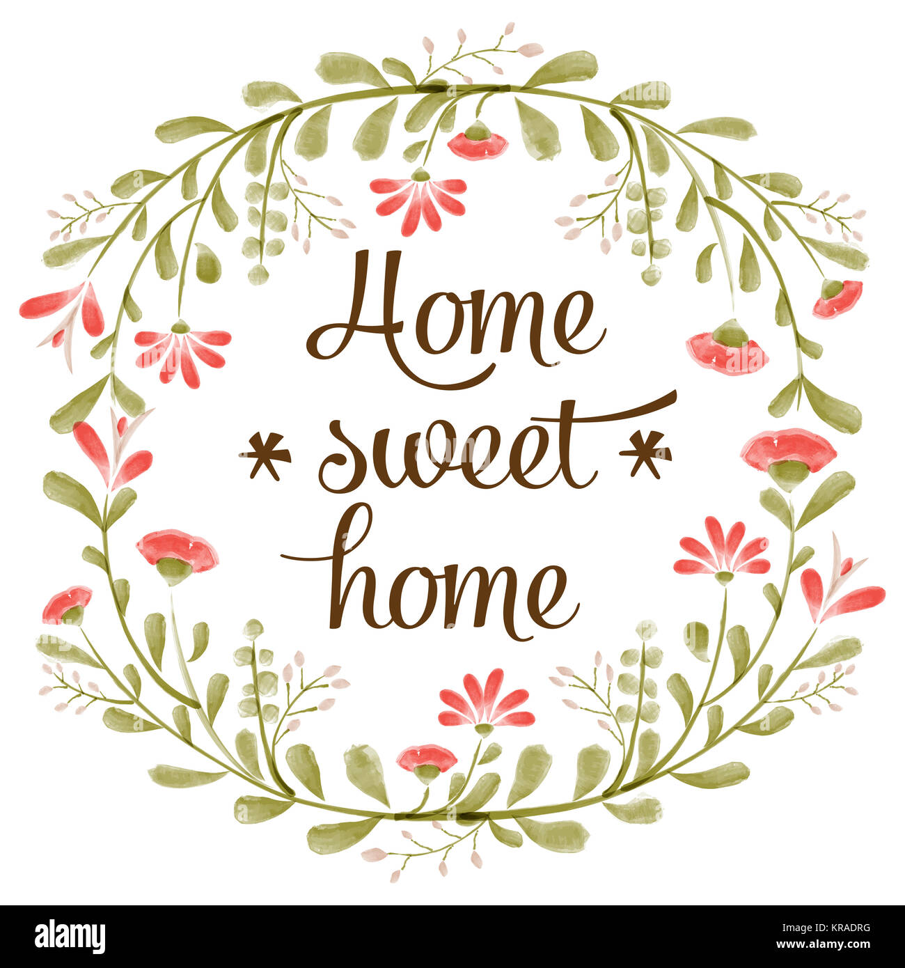 Home sweet home background with delicate watercolor flowers - Stock Image