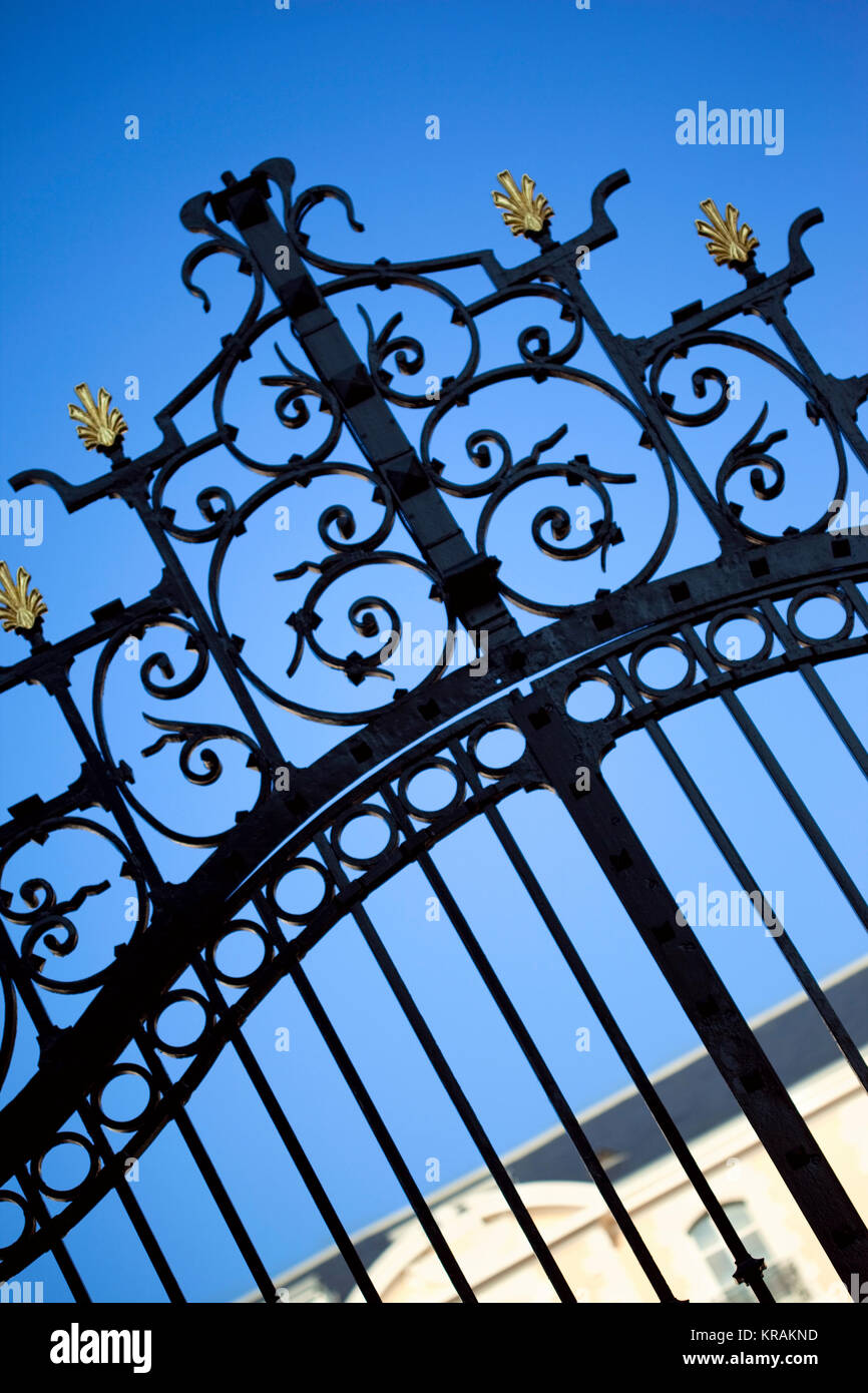 Gate of a mansion Stock Photo