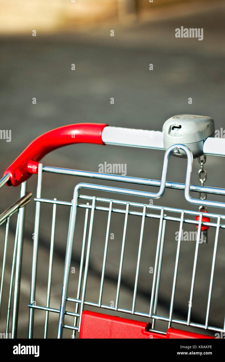 Detail of supermarket trolley Stock Photo