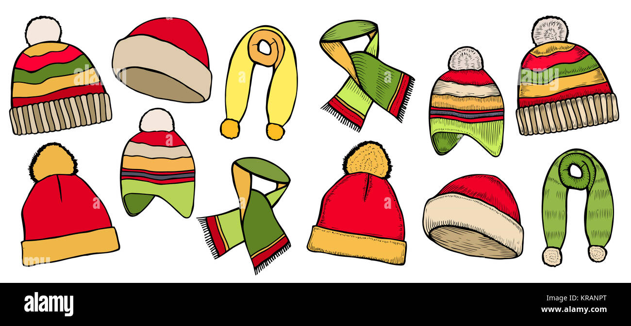 954356d1 Hand drawn Set collection of knitted woolen Hat and scarves. Winter hat,  scarves and illustration set winter icons. Isolated on white background