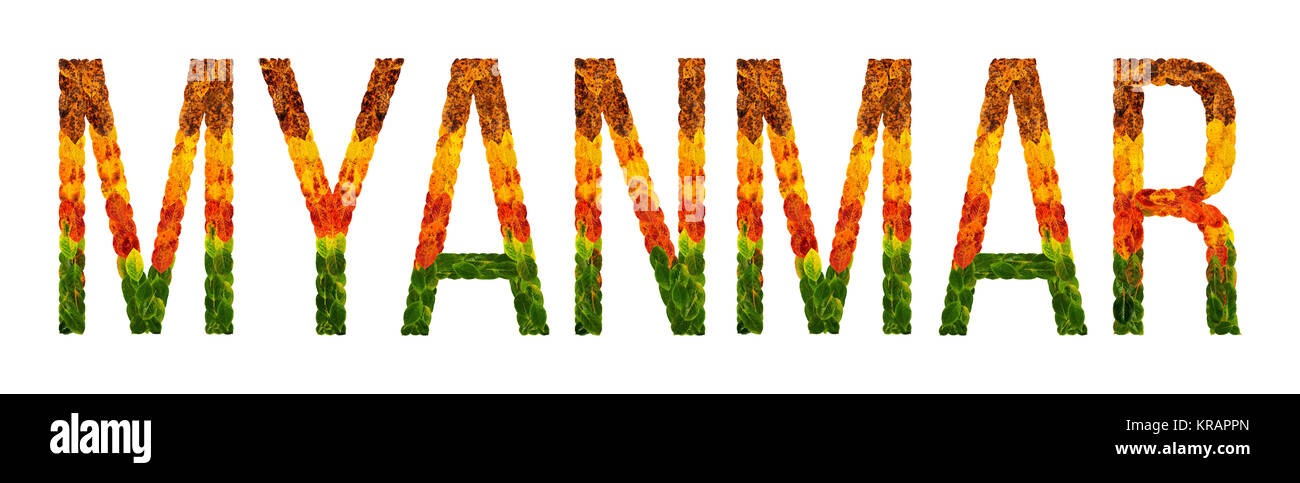 word myanmar country is written with leaves on a white insulated background, a banner for printing, a creative developing - Stock Image