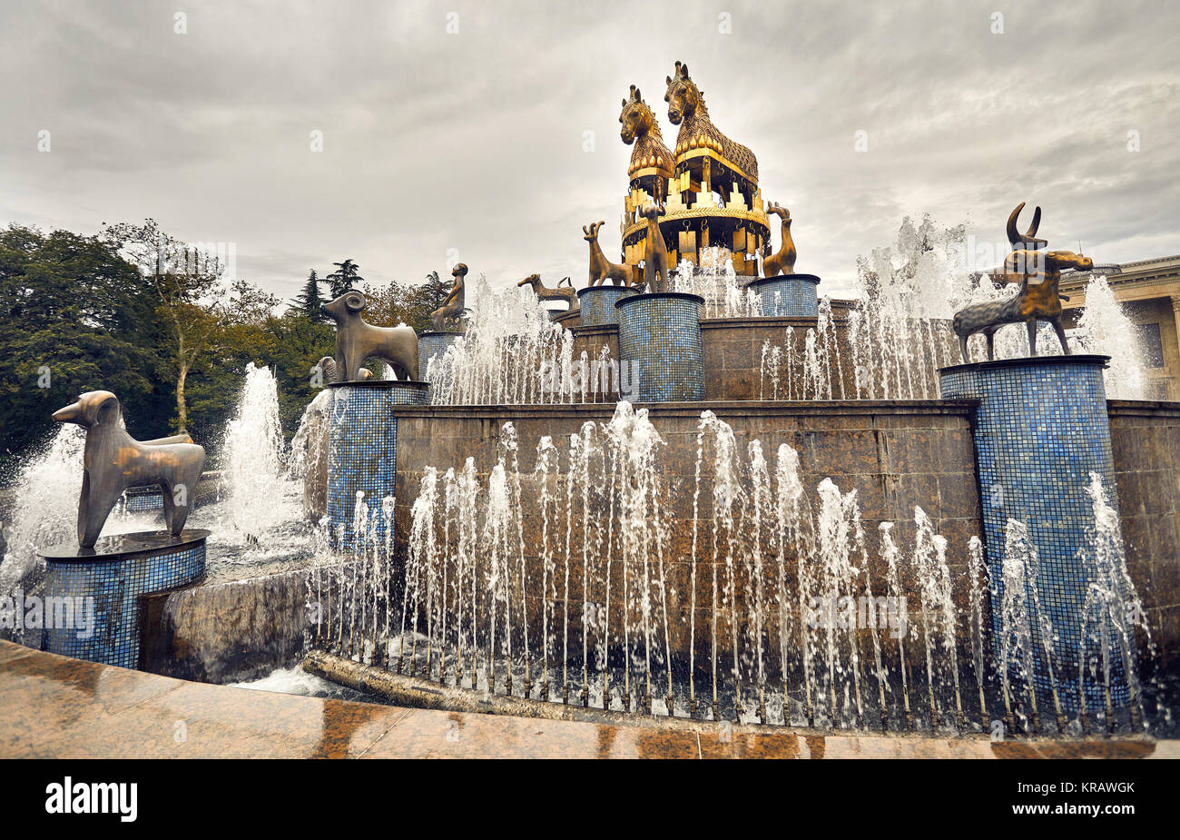 Kolkhida Fountain with golden horse statues on the central square of Kutaisi, Georgia, Europe. - Stock Image