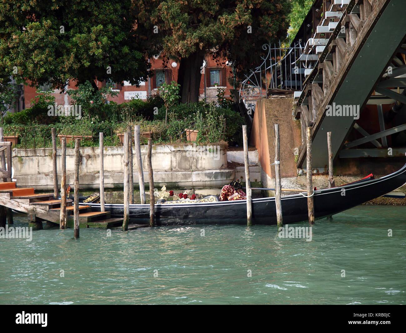 Venice - Gondola at the bridge Academia - Stock Image
