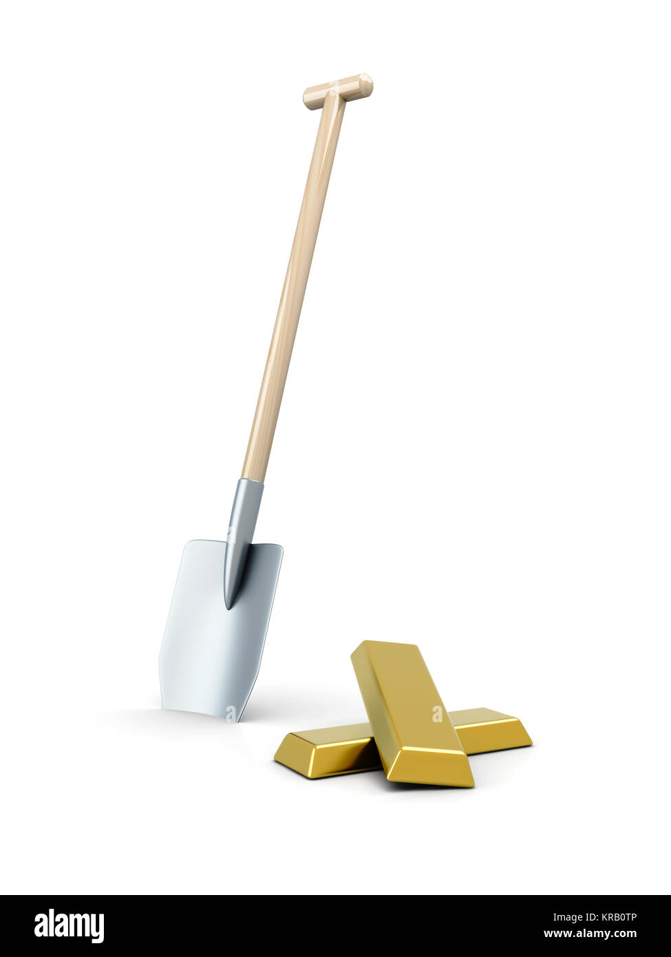 3D rendered Illustration. Isolated on white. Digging out the Gold. - Stock Image