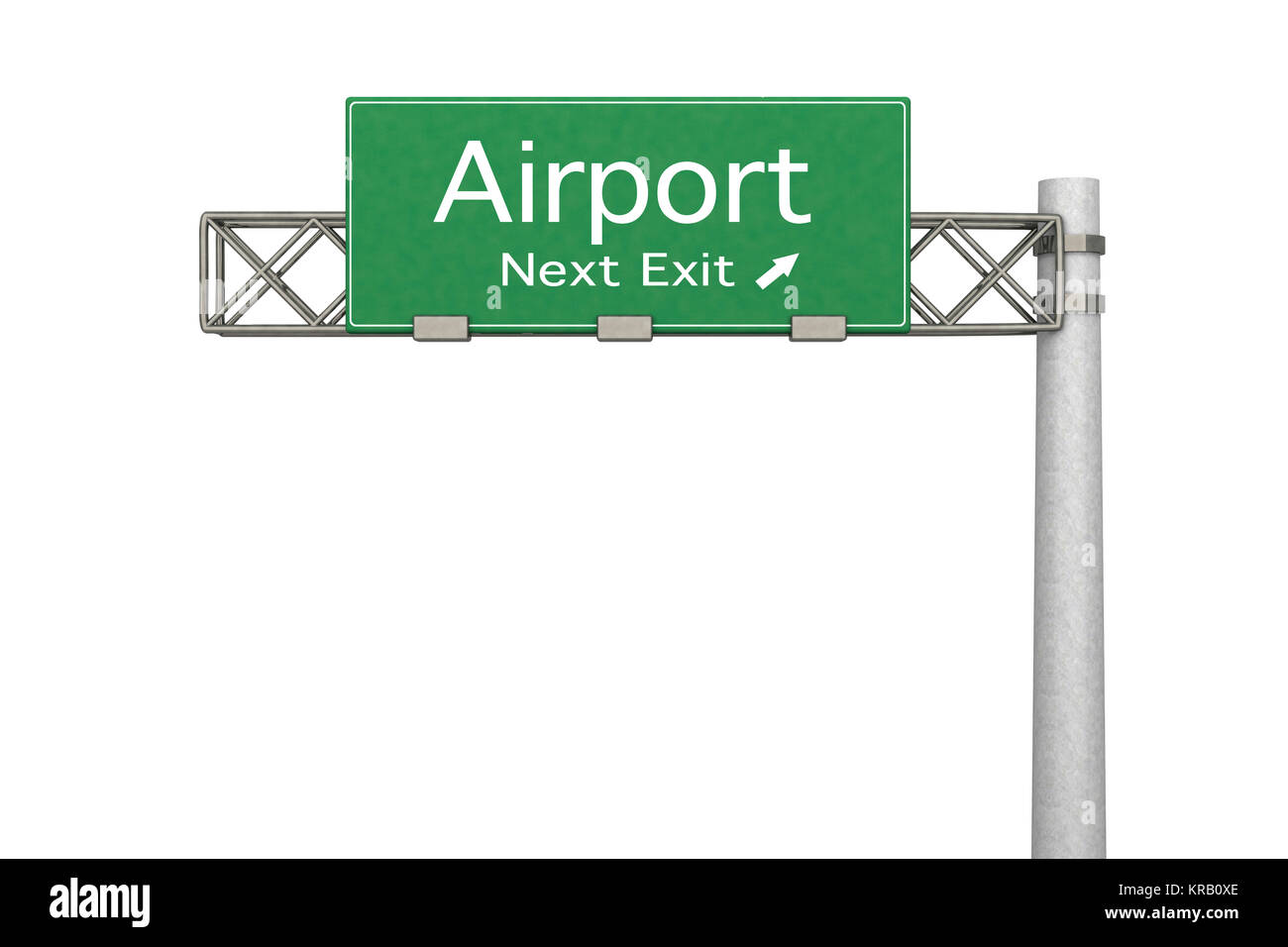 3D rendered Illustration. Highway Sign next exit to the Airport. Isolated on white. - Stock Image