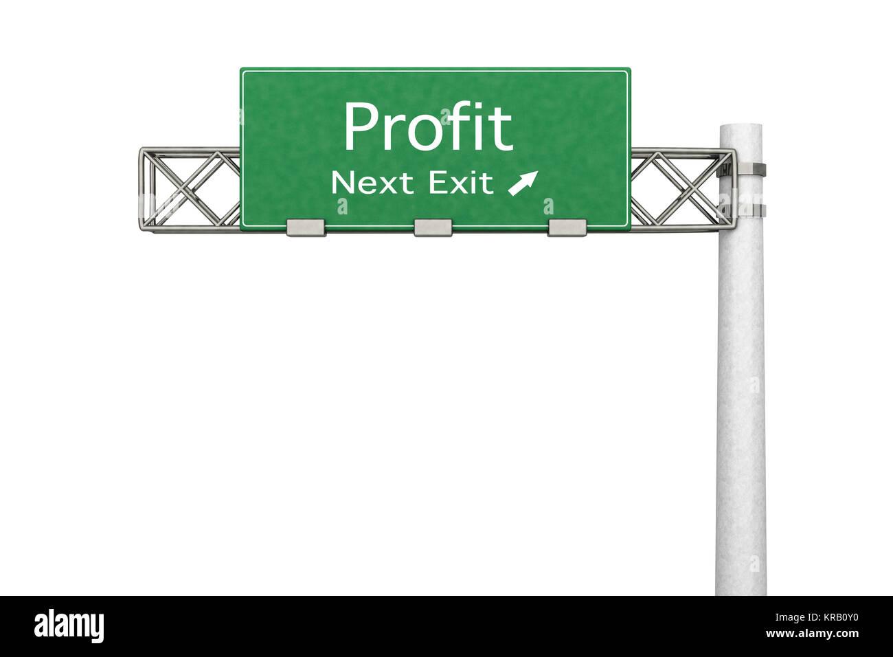 3D rendered Illustration. Highway Sign - Next exit to Profit making. - Stock Image