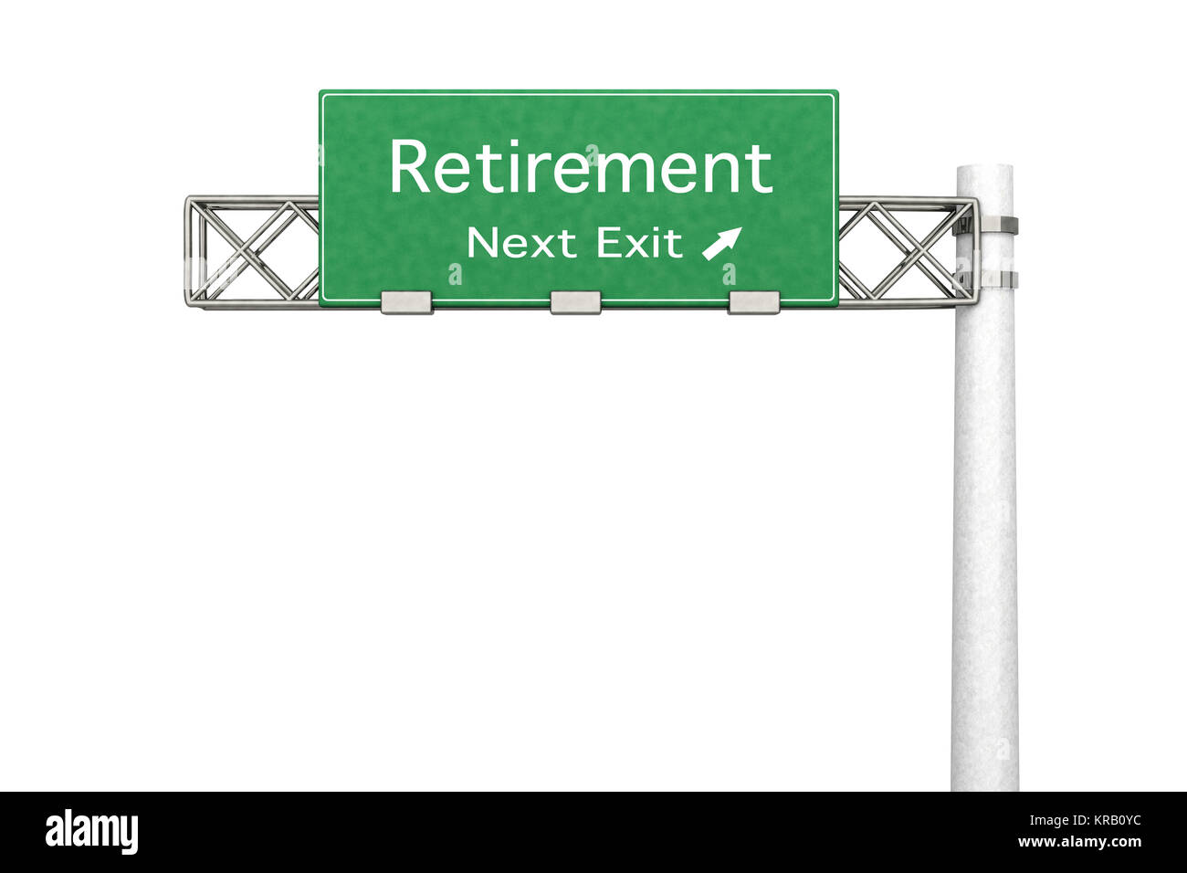 3D rendered Illustration. Highway Sign next exit to Retirement. - Stock Image