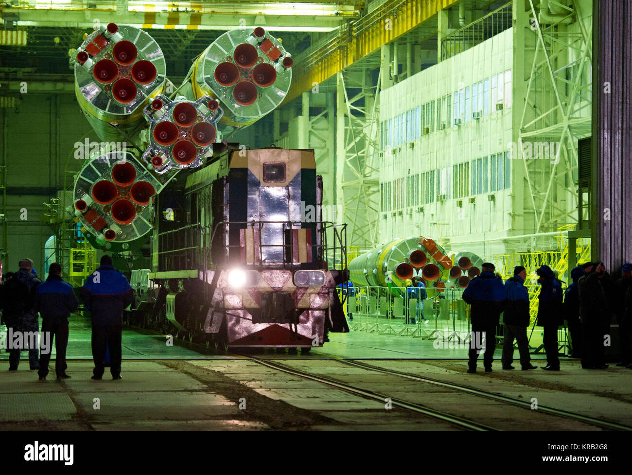 The Soyuz TMA-22 spacecraft is rolled out by train on its way to the launch pad at the Baikonur Cosmodrome, Kazakhstan, - Stock Image