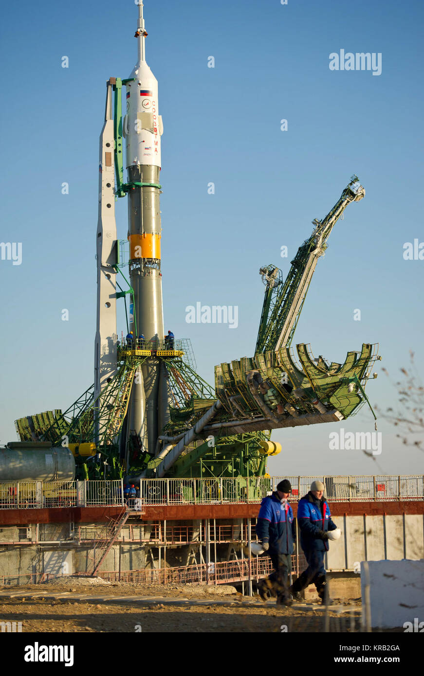 The Soyuz TMA-22 spacecraft is seen at the launch pad after being raised into vertical position on Friday, Nov. - Stock Image