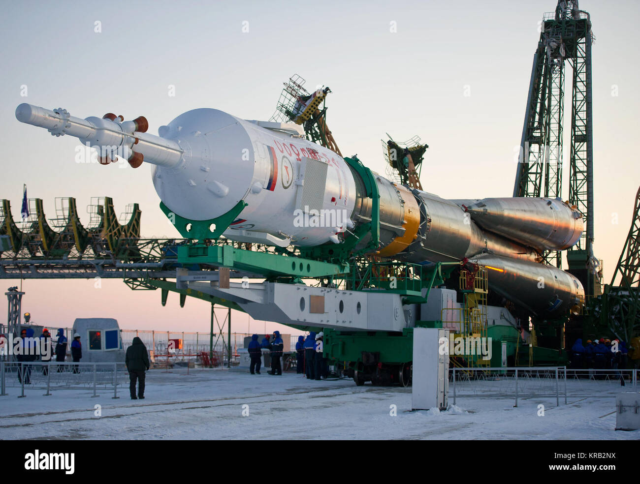 The Soyuz TMA-03M spacecraft is seen shortly after arriving at the launch pad Monday, Dec. 19, 2011 at the Baikonur - Stock Image