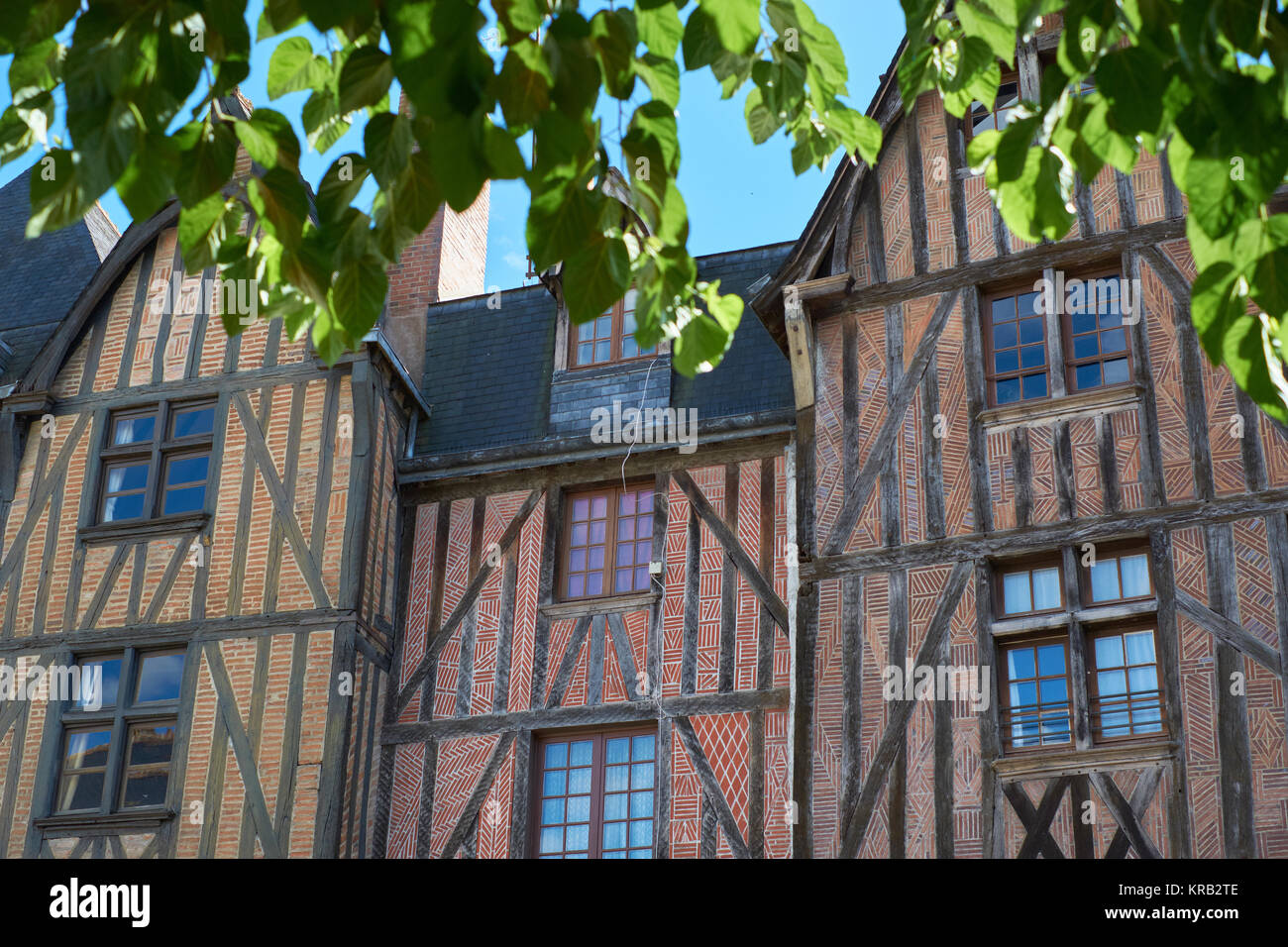 Wooden timbered buildings in the medieval city of Tours in the Loire Valley France - Stock Image