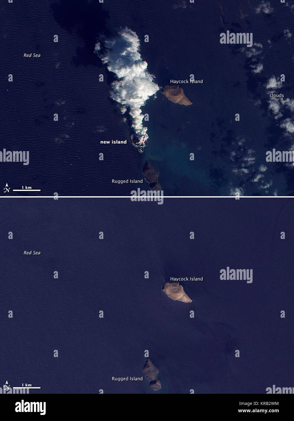 Top image: acquired December 23, 2011.  Bottom image: acquired October 24, 2007  An eruption occurred in the Red - Stock Image