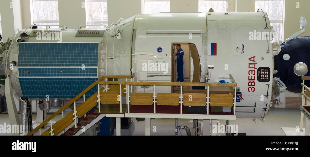 NASA flight engineer Joe Acaba is seen training in a mockup of the International Space Station Zvezda service module, - Stock Image