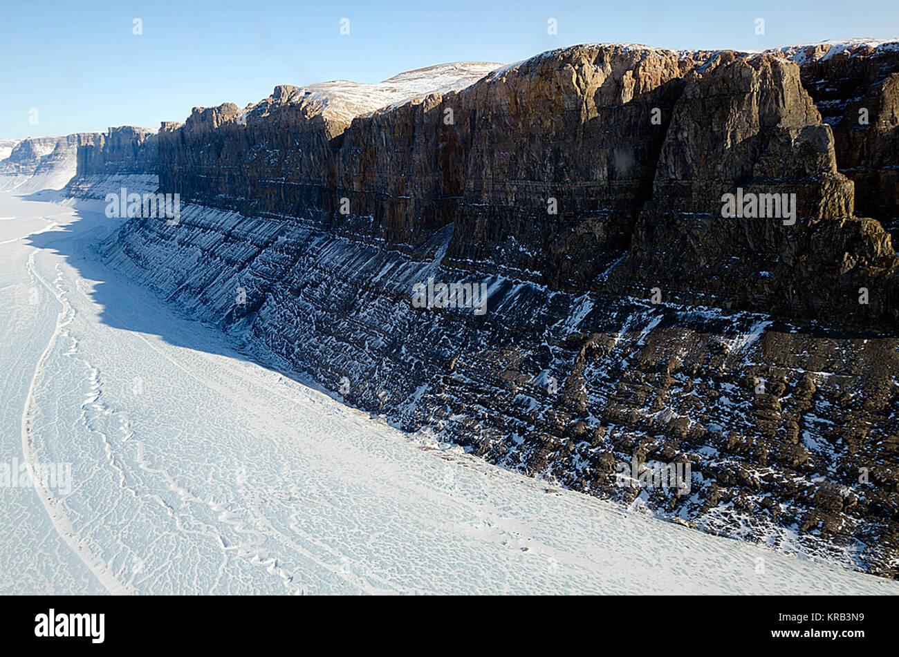 A northern Greenland glacier as seen by NASA's P-3B aircraft on May 3, 2012.    Credit: Michael Studinger/NASA  Stock Photo