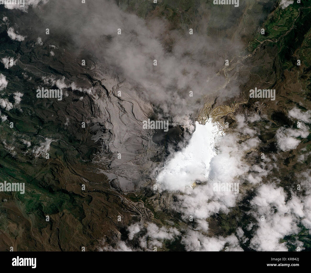 Eruption of Nevado Del Ruiz  Nevado del Ruiz Volcano, infamous for its deadly lahars, sprang to life in March 2012. - Stock Image