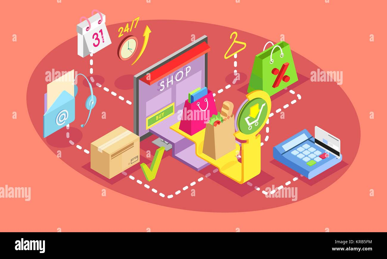 Isometric concept of online shopping. Safe shopping online with payment options.Online shopping, card payment concept. - Stock Image