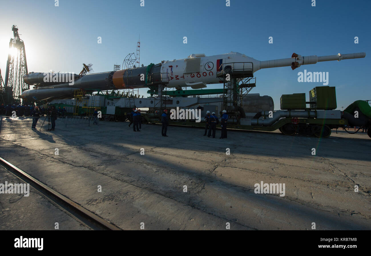 The Soyuz rocket arrives at its launch pad by train on Tuesday, March 26, 2013, at the Baikonur Cosmodrome in Kazakhstan. - Stock Image