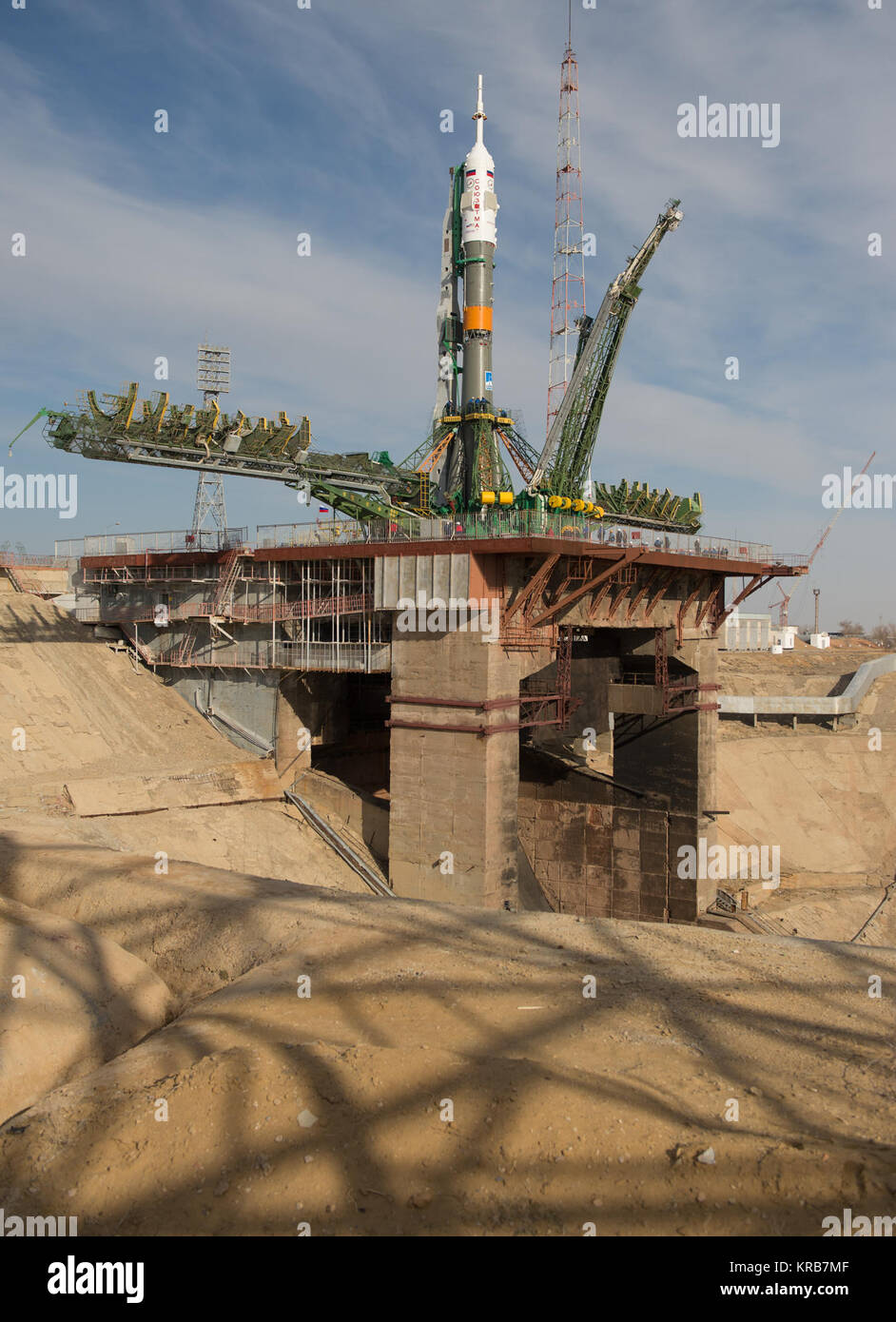 The Soyuz rocket is seen on its launch pad shortly after being lifted into its upright position on Tuesday March - Stock Image