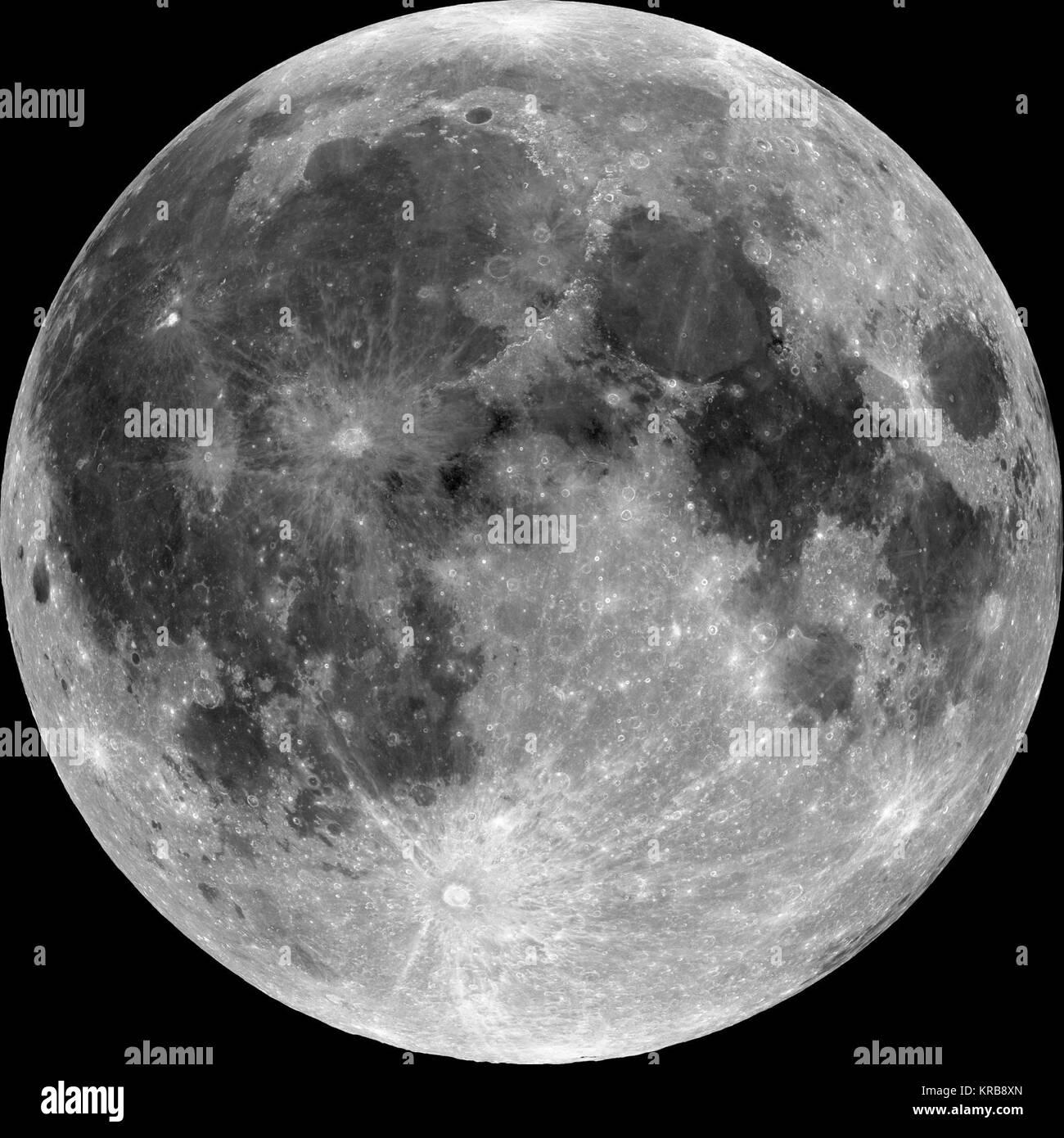 Moon nearside LRO 5000 (reflectance) - Stock Image