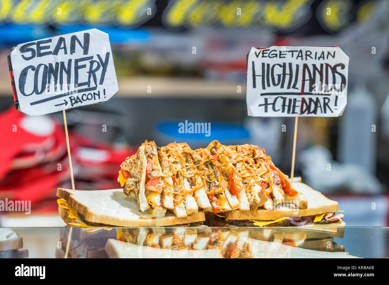 Gastronomic delicacies - tastings and sale at the annual Milan Fair - Fiera Milano - Stock Image