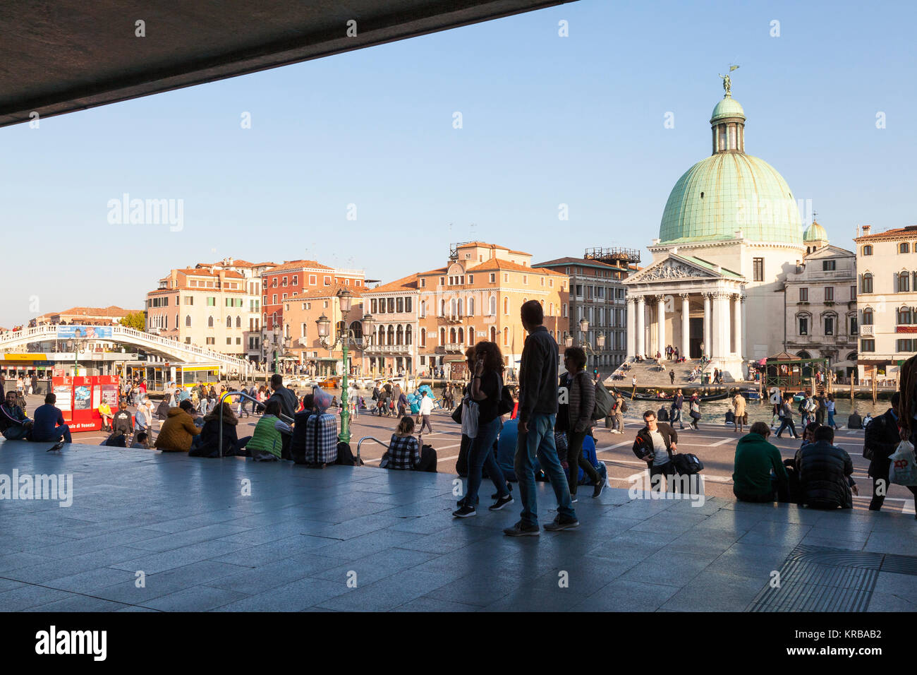 Tourists first view of Venice, Italy as they arrive by train  from the doors of Santa Lucia Railway Station looking - Stock Image