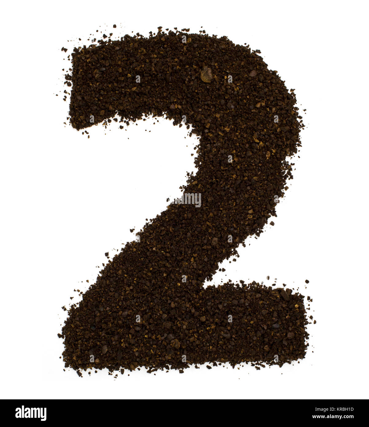 Number 2 two made of ground coarse coffee isolated on white. Flat lay, top view - Stock Image