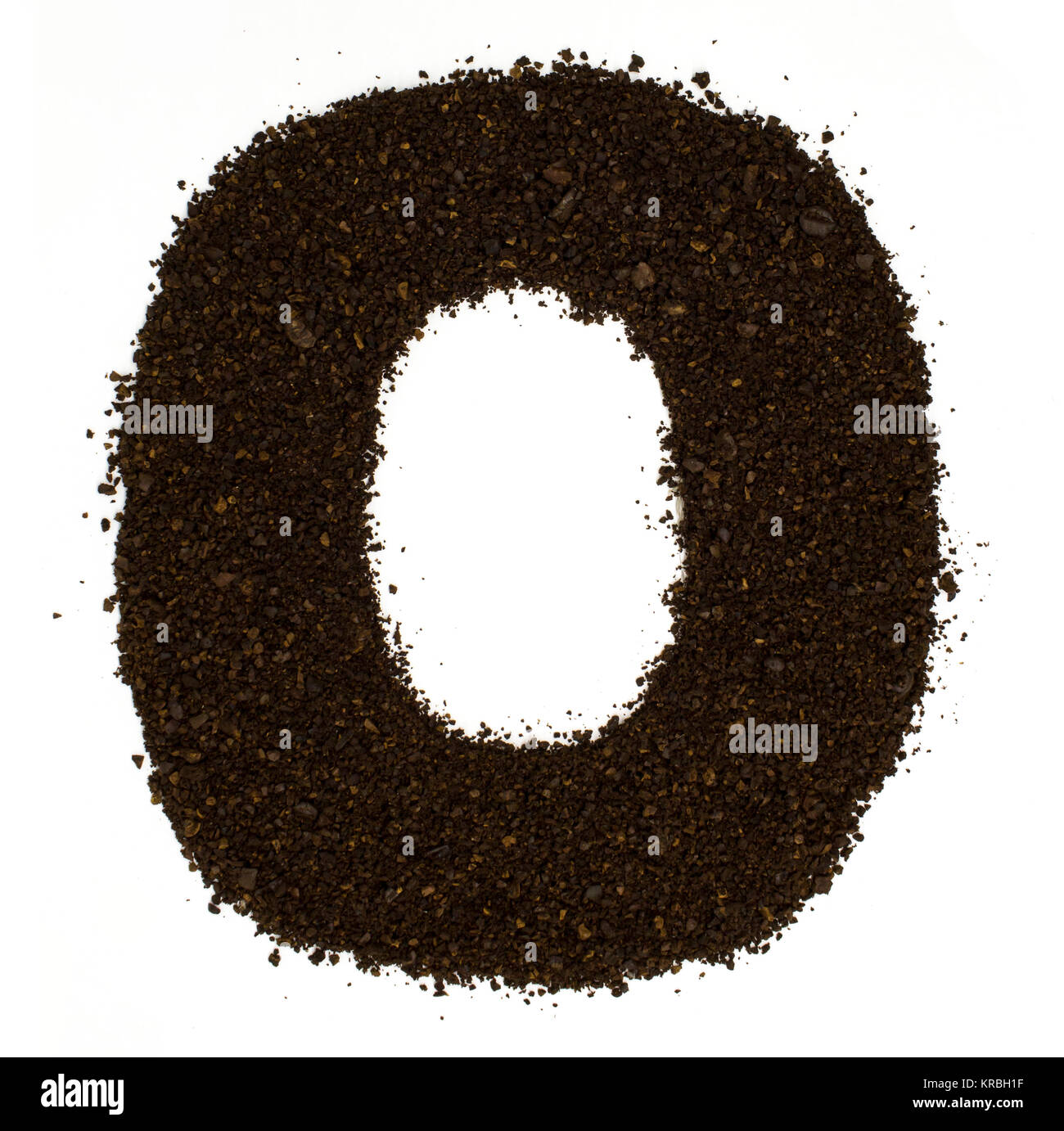 Number 0 zero made of ground coarse coffee isolated on white. Flat lay, top view - Stock Image