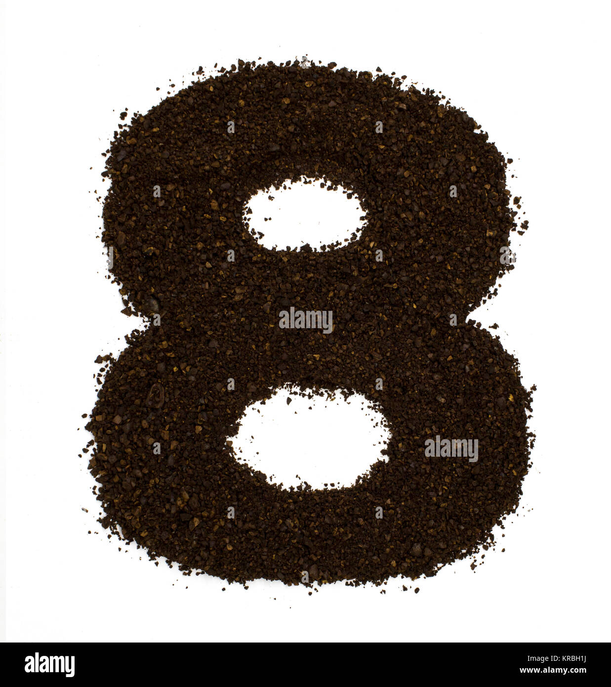 Number 8 eight made of ground coarse coffee isolated on white. Flat lay, top view - Stock Image