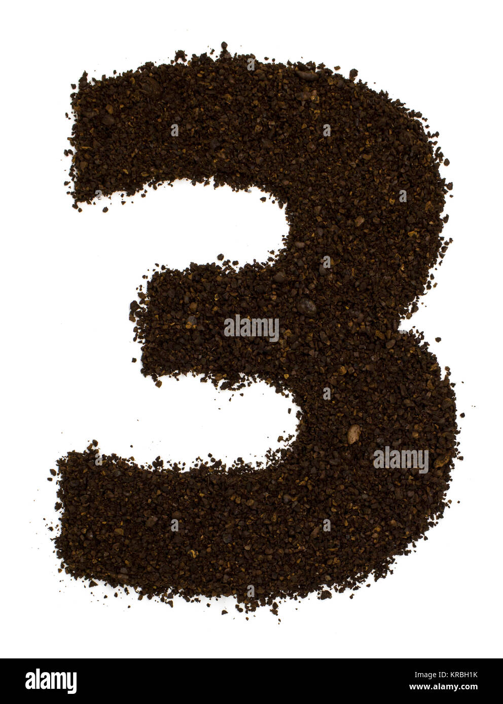 Number 3 three made of ground coarse coffee isolated on white. Flat lay, top view - Stock Image