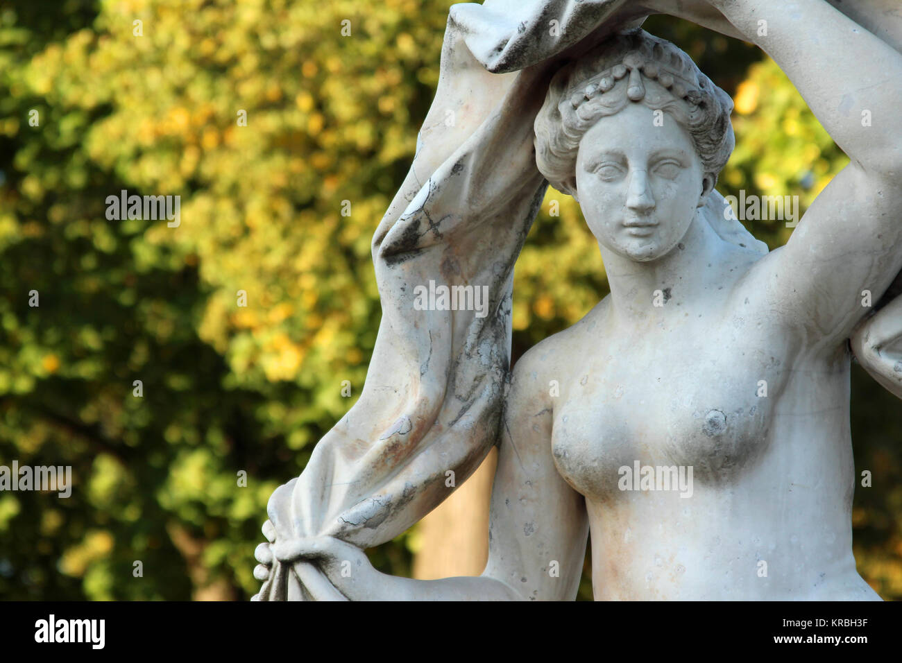 Antique stone statue of the goddess Galatea in the Catherine park, Pushkin, St. Petersburg - Stock Image