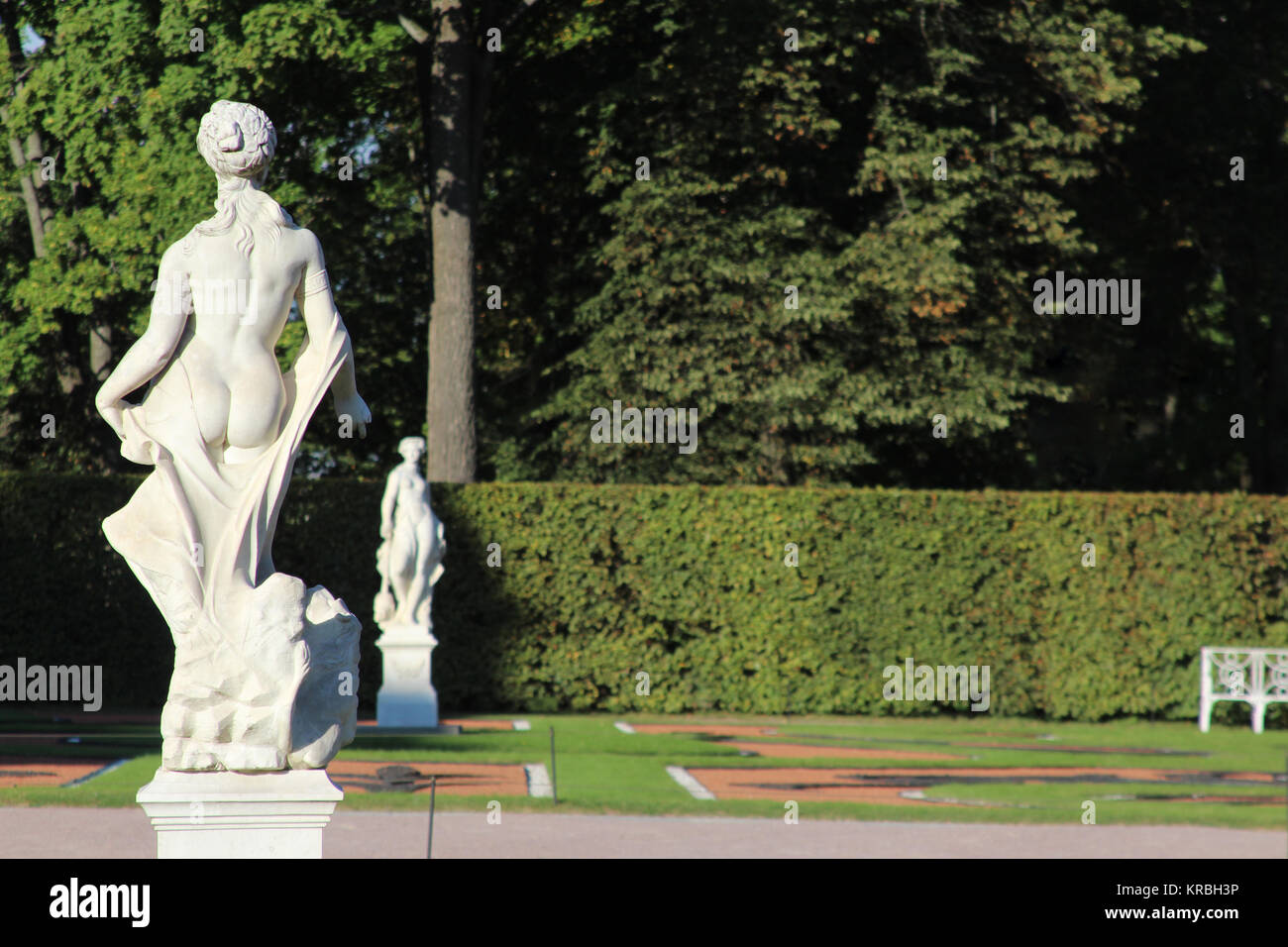 Antique statue of the goddess in the Catherine park, Pushkin, St. Petersburg - Stock Image