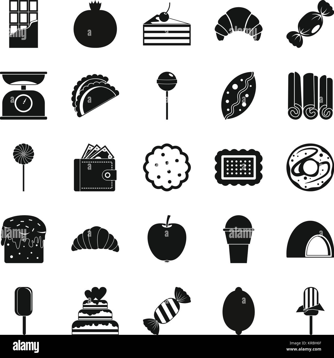 Ice cream parlor icons set, simple style Stock Vector