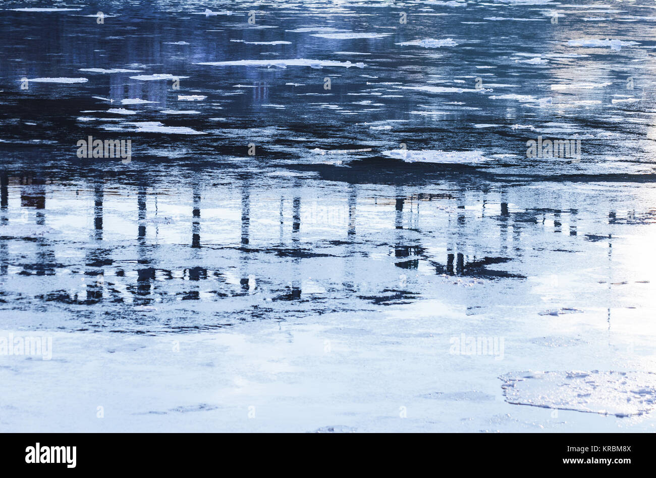 Abstract reflection in quiet water winter at day - Stock Image