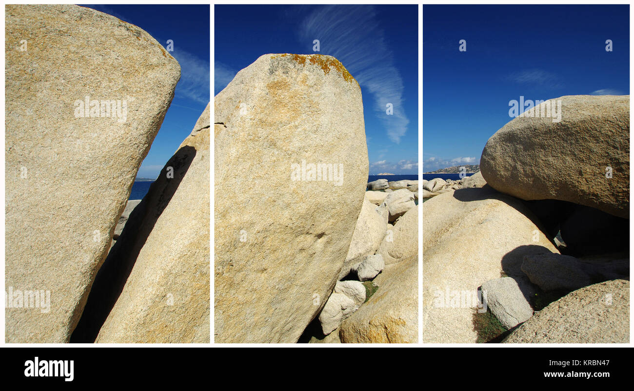 Palau, Sardinia. Granite's rock (Triptych: picture molded into 3 fields for printing decorative panels)i - Stock Image