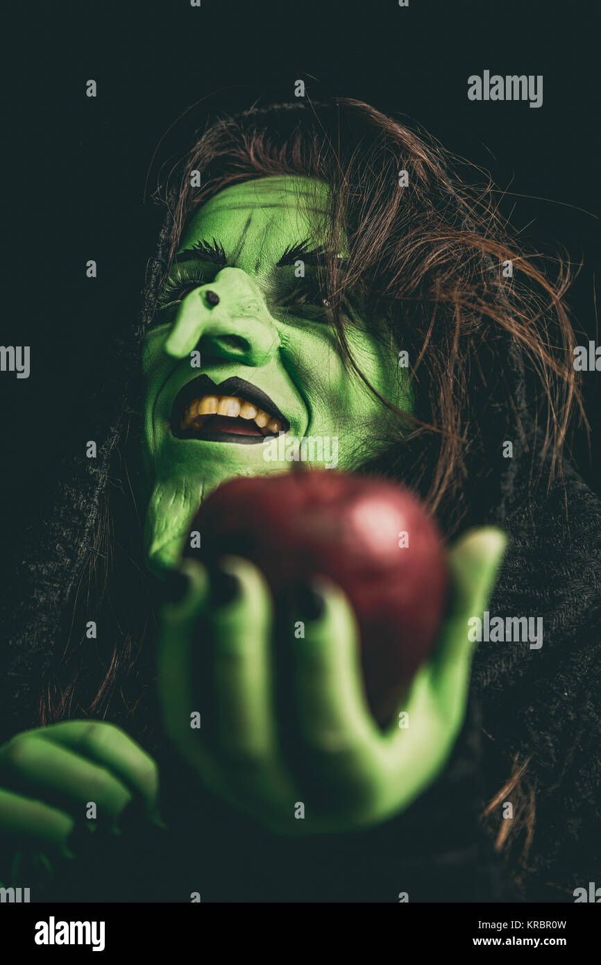 Evil witch laughing - Stock Image