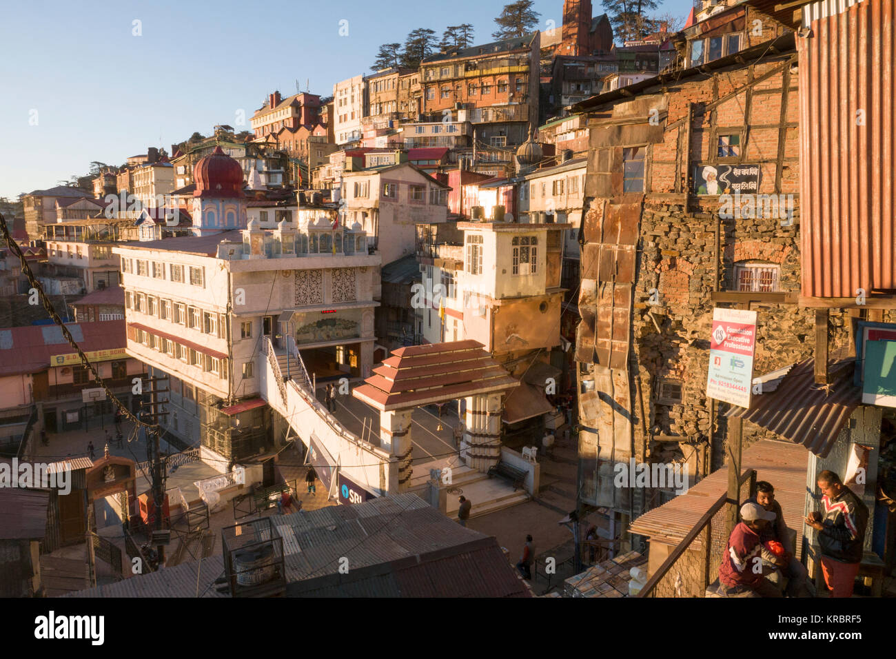 Old colonial buildings of Shimla, Himachal Pradesh, India - Stock Image