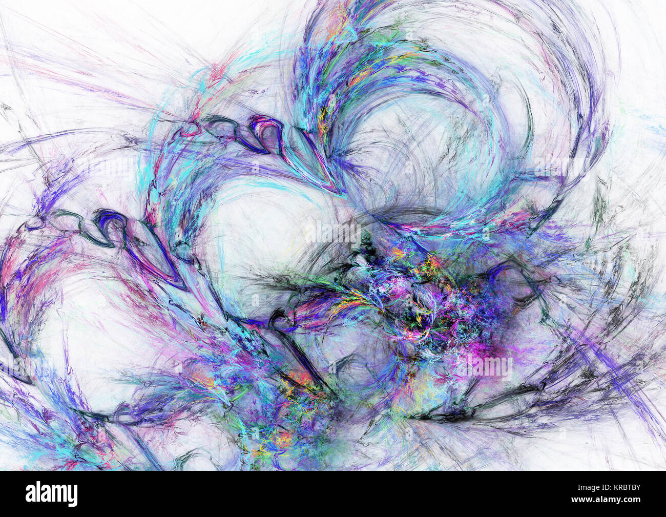 Fractal flame, computer generated image - Stock Image
