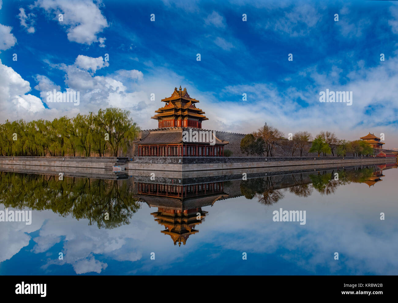 Detail Of The Forbidden City With A Beautiful Reflection In Spring Day Beijing China