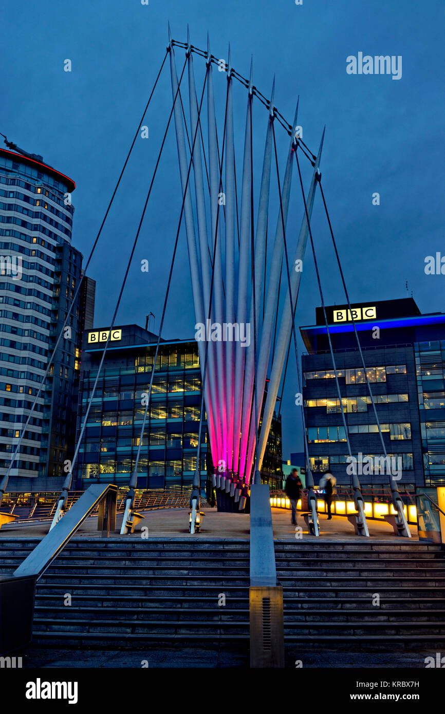 The BBC buildings at MediaCityUK, Salford Quays, Greater Manchester, UK. - Stock Image
