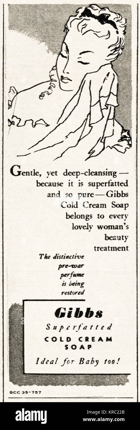1940s old vintage original advert advertising Gibbs cold cream soap in magazine circa 1947 when supplies were still - Stock Image