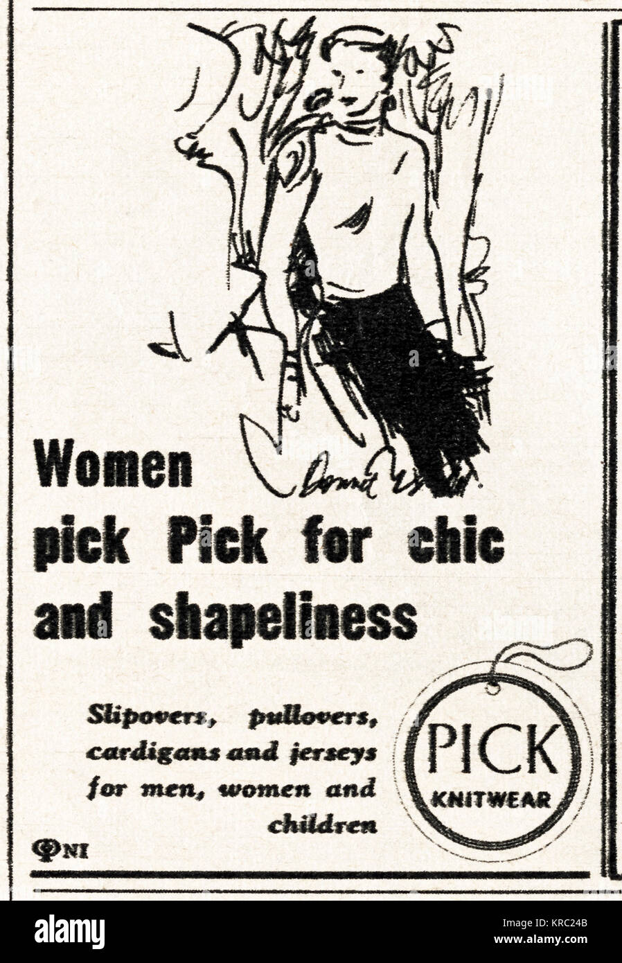 1940s old vintage original advert advertising Pick knitwear for women in magazine circa 1947 when supplies were - Stock Image