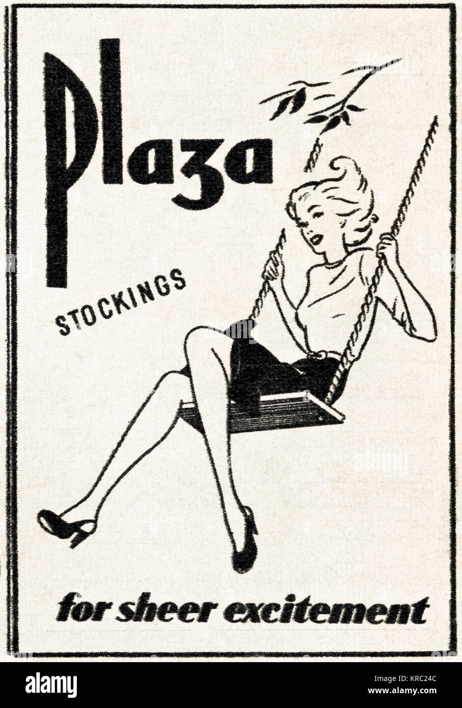 1940s old vintage original advert advertising Plaza stockings for ladies in magazine circa 1947 when supplies were - Stock Image