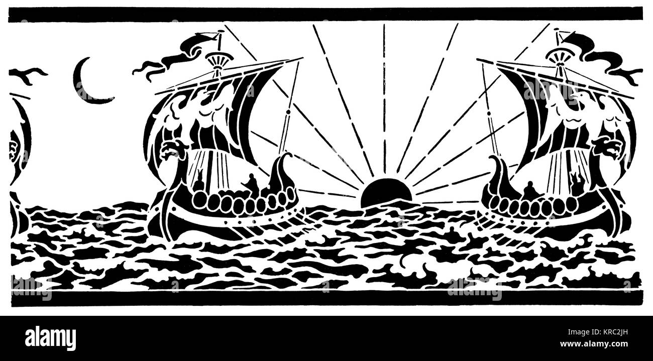 Viking ship design for frieze in stencil, by, A L Duthie of Edinburgh, from 1894 Studio Magazine competition - Stock Image