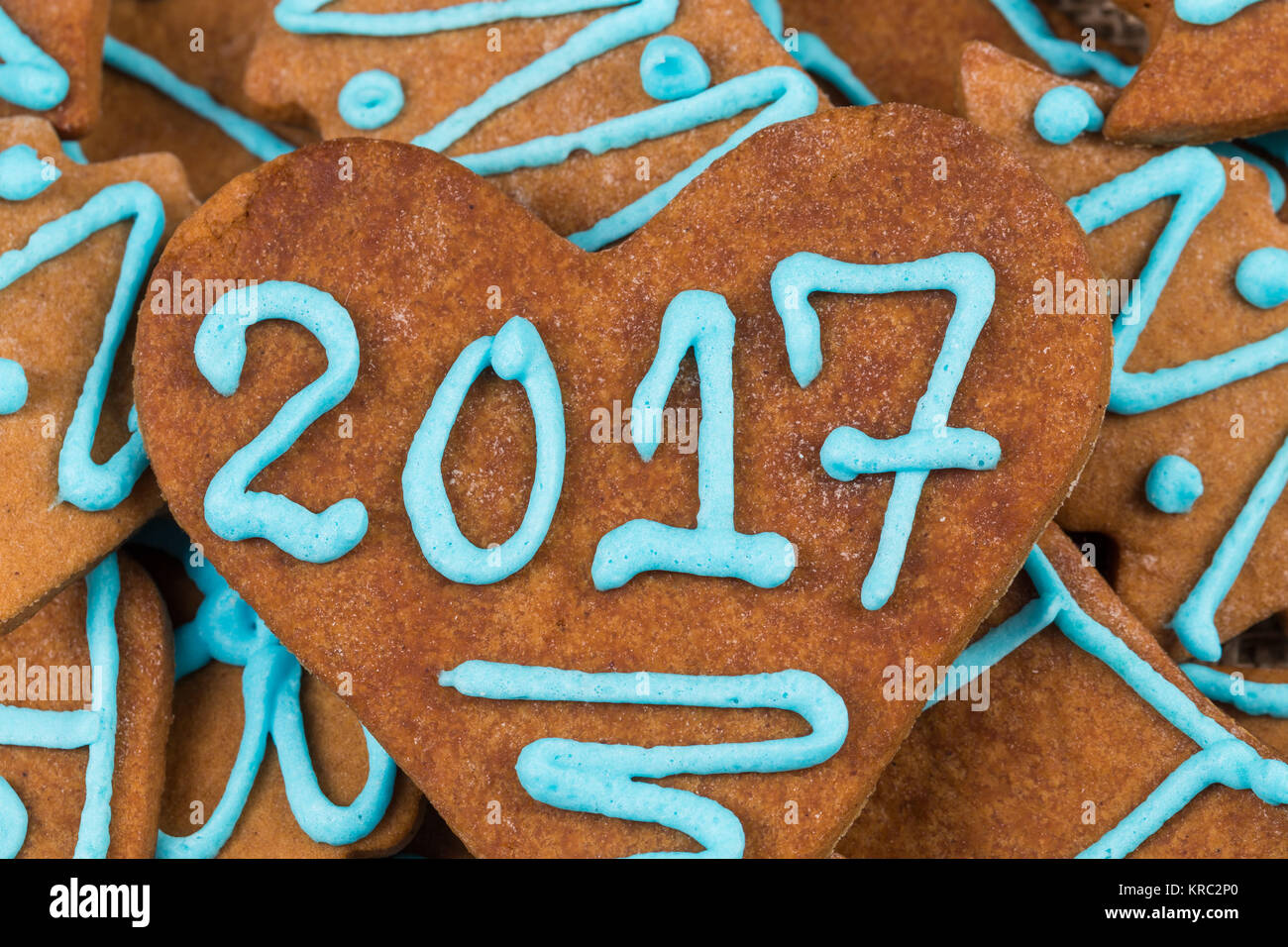 2017 number on cookie - Stock Image