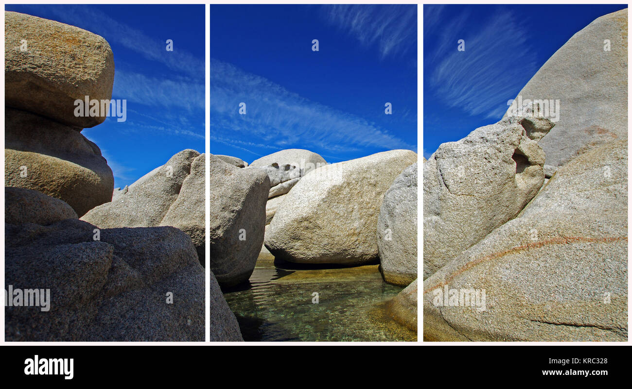 Palau, Sardinia. Granite's rock (Triptych: picture molded into 3 fields for printing decorative panels) - Stock Image
