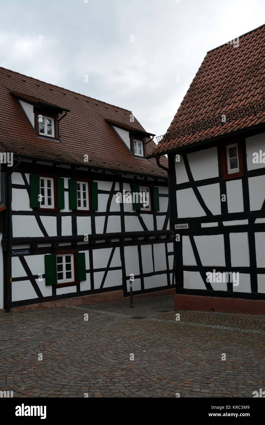 half-timbered houses in kandel in the southern palatinate Stock Photo