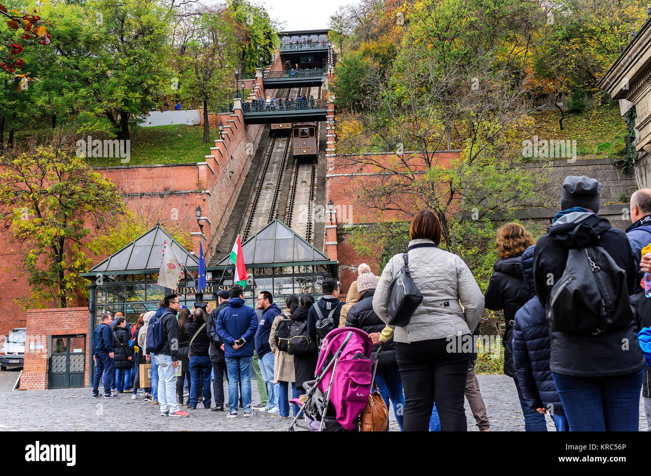 BUDAPEST, HUNGARY- 28 OCTOBER 2017: Tourists wait in line to buy tickets for the funicular. Budapest, Hungary. Stock Photo